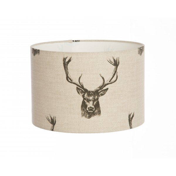 Hand Made Cream and Grey Charcoal Stags Design Lampshade