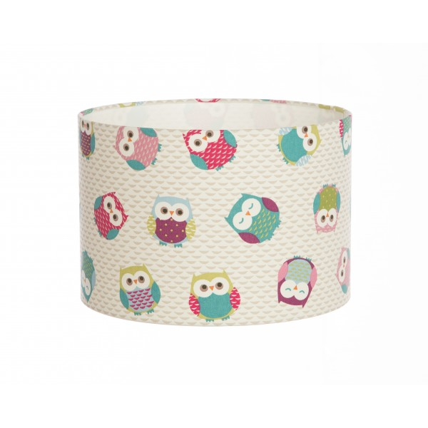 Hand Made Cream Childrens Lampshade With Cartoon Owl Design