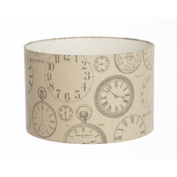Hand Made Beige and Charcoal Vintage Clocks Lampshade