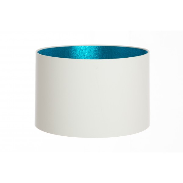 Hand Made White Cotton Lampshade With Turquoise Shimmer Lining