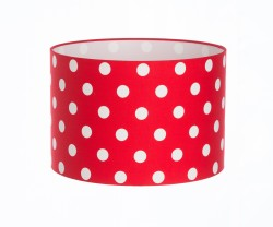 Hand Made Bright Red Polka-Dot Lampshade