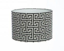 Hand Made Black and White Geometric Mirror Maze Design Lampshade