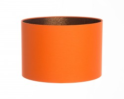 Hand Made Orange Cotton Lampshade With Bronze Shimmer Lining