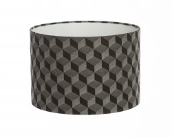 Hand Made Black and Charcoal Grey 3D Cubed Geometric Lampshade