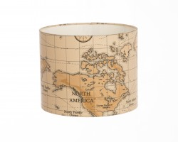 Hand Made Antique 'Dusty' Orange Maps Design Lampshade