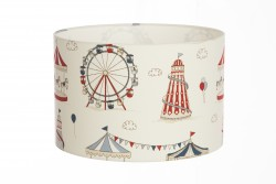 Hand Made Cream and Red Children's Lampshade with Cartoon Fun Fair Design