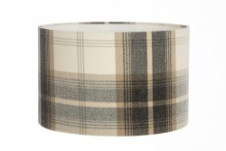 Hand Made Cream and Grey Checked Tartan Print Lampshade
