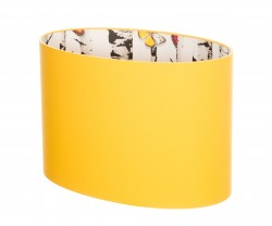 Hand Made Sunshine Yellow Oval Lampshade with Woods and Butterflies Wallpaper Lining