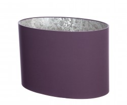 Hand Made Mauve Purple Oval Lampshade with Silver Wallpaper Lining