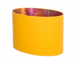 Hand Made Corn Yellow Oval Lampshade with Cerise and Yellow Floral Lining