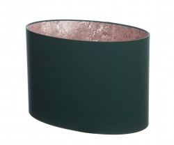 Hand Made Dark Bottle Green Oval Lampshade with Rose Gold Lining