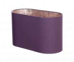 Hand Made Mauve Purple Flat Sided Oval Lampshade with Rose Gold Lining