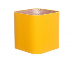 Hand Made Corn Yellow Rounded Square Lampshade with Rose Gold Lining