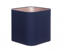 Hand Made Navy Blue Rounded Square Lampshade with Rose Gold Lining