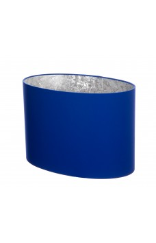 Hand Made Royal Blue Oval Lampshade with Silver Lining